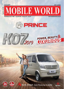 Prince DFSK K07 family van front cover page advertisement January-2019 edition MOBILE WORLD Magazine