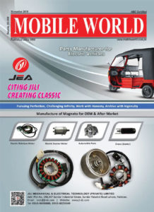 Jili Magneto electric parts advertisement front cover page November-2019 edition MOBILE WORLD Magazine