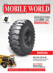 Panther OTR Tyre Marshal front cover advertisement May-2019 edition MOBILE WORLD Magazine