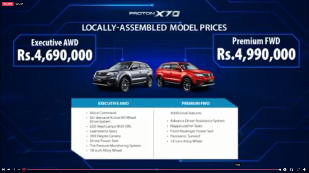 Proton X70 Locally Assembled price
